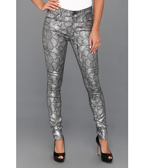 Blugi 7 For All Mankind - The Scalloped Lace Skinny in Silver Snow on Black - Silver Snow on Black