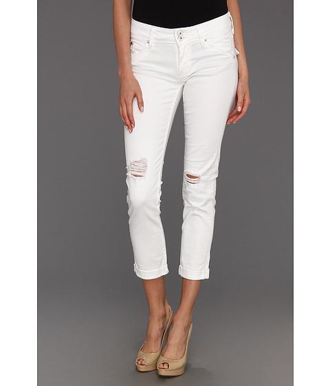 Blugi Hudson - Collin Mid Rise Skinny Crop w/ Cuff in White Vintage - White Vintage
