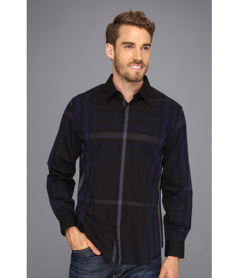 Camasi Perry Ellis - Window Plaid L/S Shirt - Black