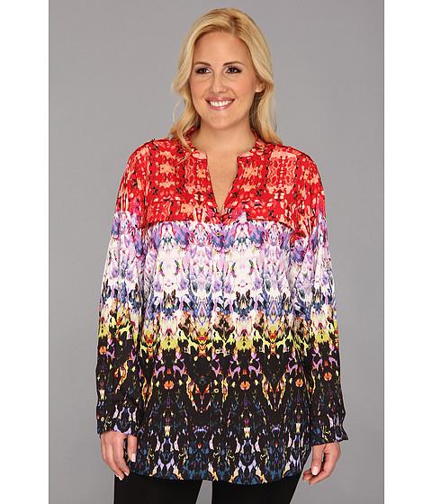 Bluze Calvin Klein - Plus Size Print Crew Roll Sleeve W3JAZ547 - Black/Citron