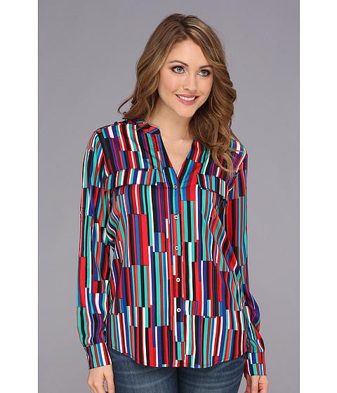 Bluze Calvin Klein - Print Crew Roll Sleeve M3KAZ547 - Cherry Combo