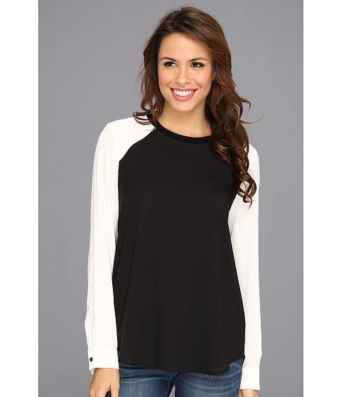 Bluze Calvin Klein - L/S Colorblock w/ Rib Neck Top M3KA9647 - Black