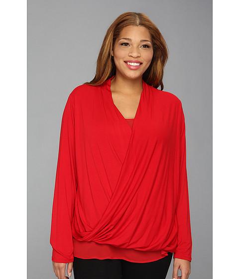 Bluze DKNY - Plus Size L/S Top w/ Chiffon Underlay - Haute Red