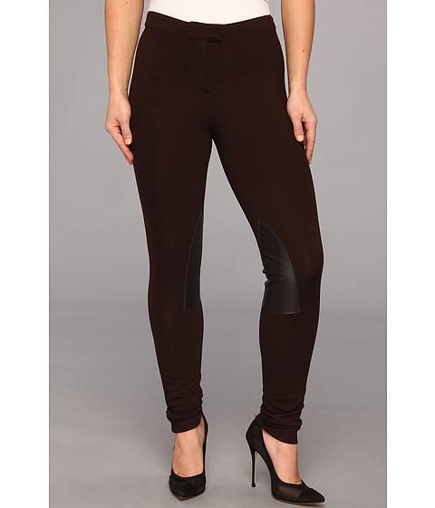 Pantaloni MICHAEL Michael Kors - Petite Knit Faux Leather Riding Pant - Chocolate