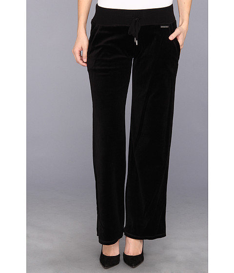 Pantaloni MICHAEL Michael Kors - Petite Pull On Velour Pant - Black/Silver