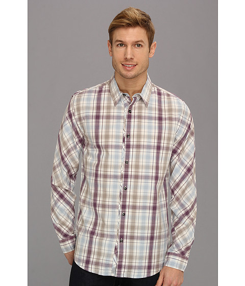 Camasi DKNY - L/S Roadmap Plaid Shirt - Casual Press - Gardenia