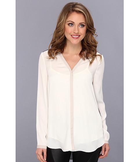 Bluze DKNY - L/S V-Neck Button Through Blouse - Ivory