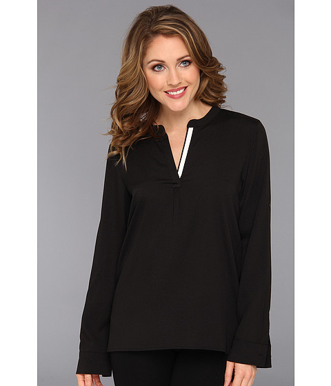 Bluze Calvin Klein - V-Neck Roll Sleeve M3KA9554 - Black