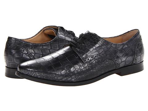 Pantofi Cole Haan - Breslyn Oxford - Black Armor Washed Metallic Croc Print
