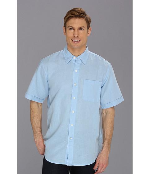 Camasi IZOD - Short Sleeve Solid Linen Button-Down Woven - Powder Blue