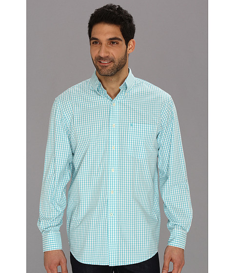 Camasi IZOD - Long Sleeve Essential Check Button-Down Woven - Maui Blue