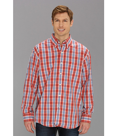 Camasi IZOD - Long Sleeve Essential Medium Plaid Button-Down - Baked Apple