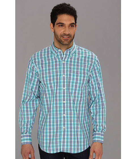 Camasi IZOD - Long Sleeve Essential Medium Plaid Button-Down - Maui Blue