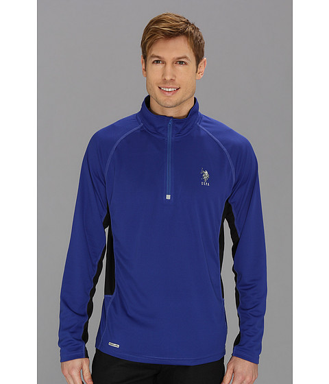 Bluze U.S. Polo Assn - Cage Mesh 1/4 Zip Active Top - Cobalt Blue