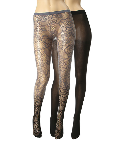 Lenjerie Betsey Johnson - 2-Pack Revolutionary Rose Net Tight/Solid - Black Grey/Black
