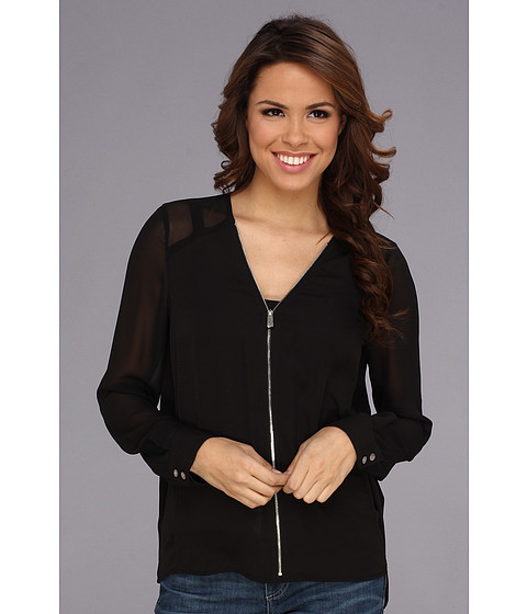Bluze Vince Camuto - Center Zip Chiffon Sleeve Blouse - Rich Black