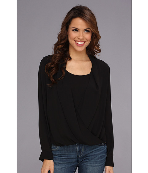 Bluze Vince Camuto - L/S Wrap Front Shirt Tail Blouse - Rich Black