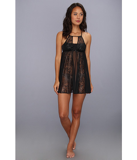 Lenjerie Betsey Johnson - Metallic Lace Tricot Slip - Black