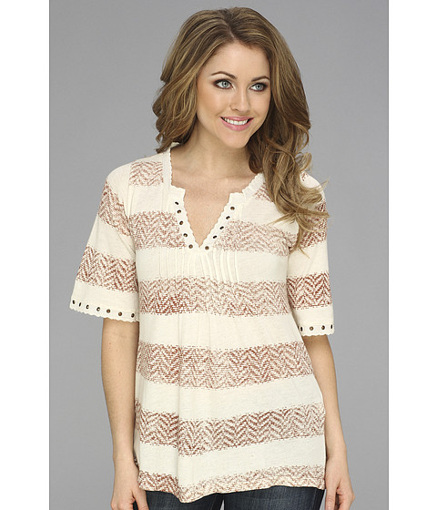 Bluze Lucky Brand - Drapey Pintucked Top - Cinnamon Stripe