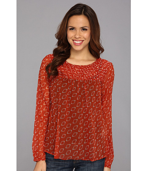 Bluze Lucky Brand - Diamond Smocked Peasant - Cinnamon Stick Multi