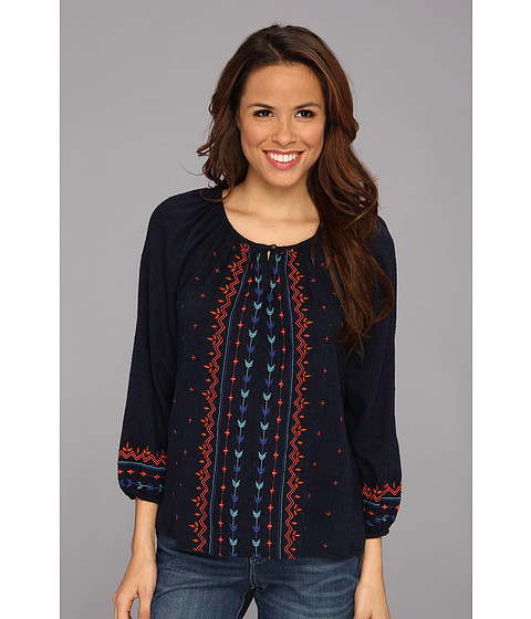 Bluze Lucky Brand - Embroidered Geo Peasant - Navy Multi