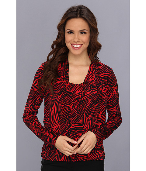 Bluze Anne Klein New York - Mane Print Cowl Neck Top - Lipstick Multi