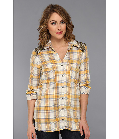 Camasi Free People - Little Bit Of Sugar Plaid Sequin Top - Ivory Combo