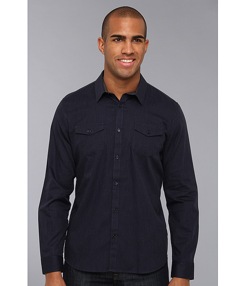 Camasi Calvin Klein - Heather Twill L/S Button Down Shirt - Blue Grapht