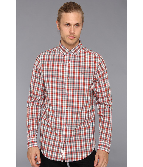 Camasi Original Penguin - Heritage Fit The P55 Checked Shirt - Pureed Pumpkin