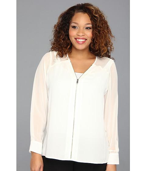 Bluze Vince Camuto - Plus Size Center Zip Chiffon Sleeve Blouse - New Ivory