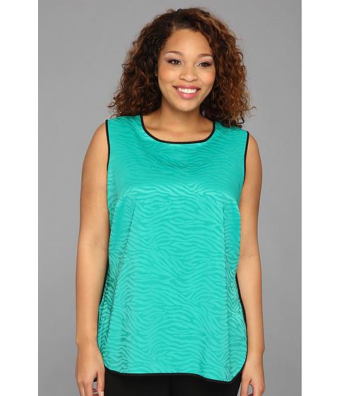 Bluze Vince Camuto - Plus Size S/L Shirt Tail Jacquard Blouse - Emerald