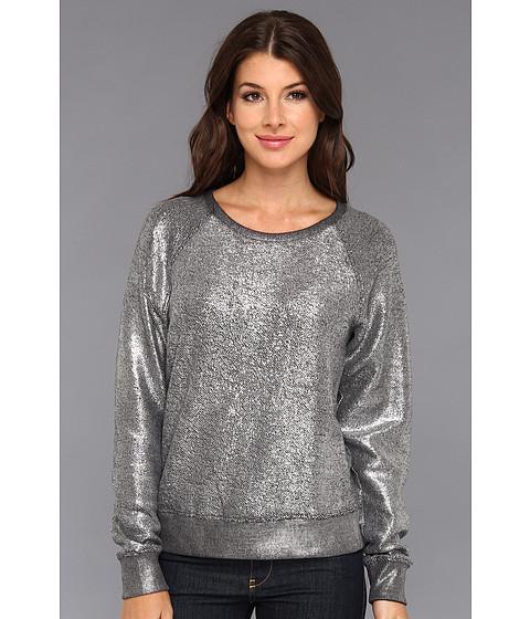 Bluze C&C California - Foiled Heather Grey French Terry L/S Sweatshirt - Silver