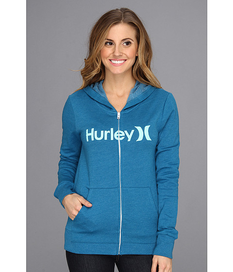 Bluze Hurley - One & Only Slim Fleece Zip Hoodie (Juniors) - Heather Ocean Blue
