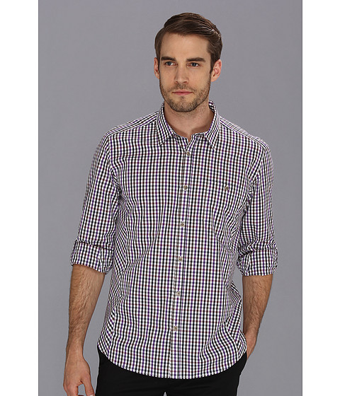 Camasi Ted Baker - L/S Checked Shirt - Purple