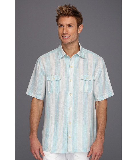 Camasi Tommy Bahama - Palmas Stripe Camp Shirt - Pagoda Blue