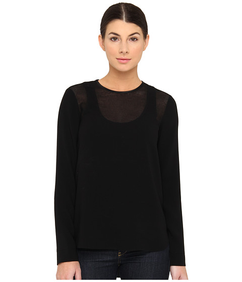 Bluze Tibi - Bibelot Crepe Long Sleeves Top - Black