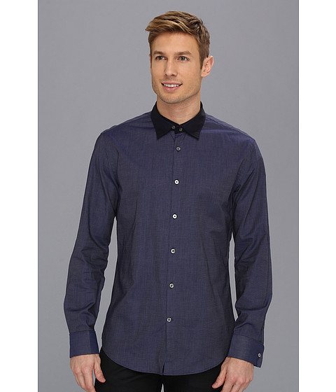 Camasi John Varvatos - Double Layer Collar Slim Fit Shirt - Ink