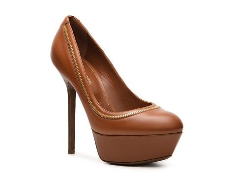 Pantofi Sergio Rossi - Leather Zipper Platform Pump - Cognac