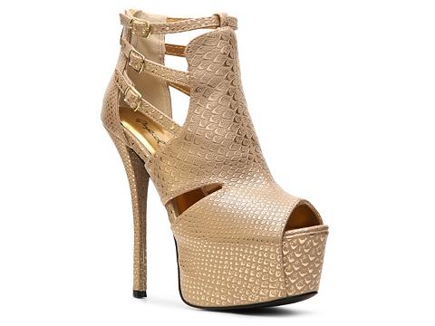 Pantofi Qupid - Pinch-14 Bootie - Taupe/Metallic Snake