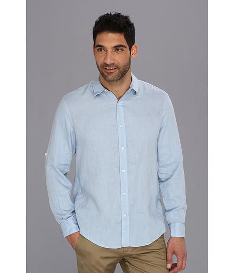 Camasi Perry Ellis - Solid Linen L/S Shirt - Light Blue