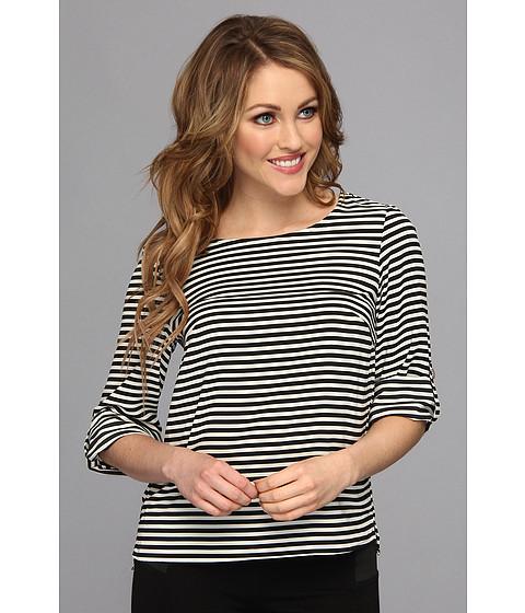 Bluze Calvin Klein - Stripped Roll Sleeve Blouse - Black/Cream