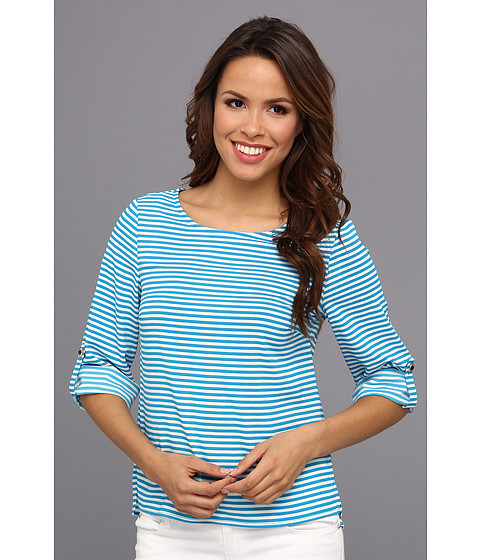 Bluze Calvin Klein - Stripped Roll Sleeve Blouse - Cerulean Multi