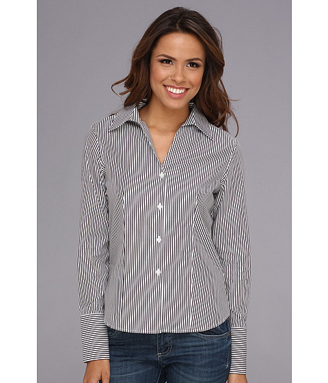 Camasi Calvin Klein - Long Sleeve Stripe Wrinkle Free Button Down - Black/White