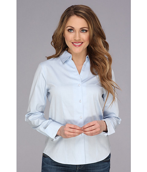 Camasi Calvin Klein - Solid Long Sleeve Wrinkle Free Button Down - Blue