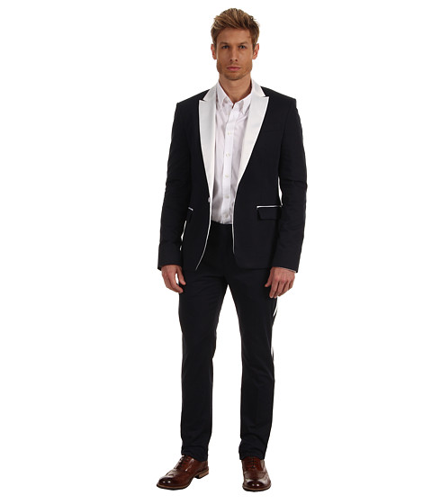 Costume Pierre Balmain - One Button Suit with Contrasting Fabric - Navy