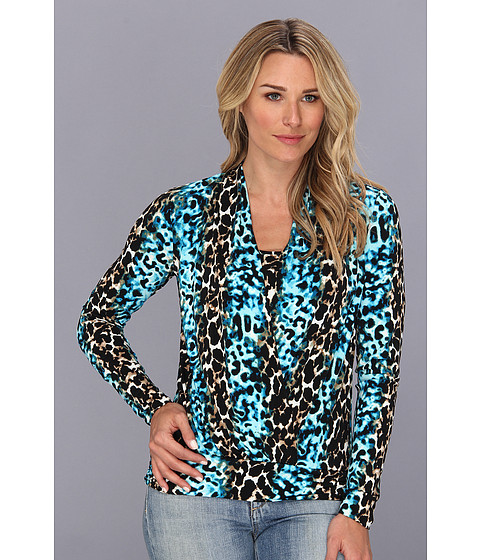 Bluze Anne Klein New York - Leopard Print L/S Cowl Neck Top - Turquoise