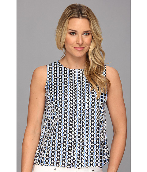 Bluze Jones New York - Pleat Front Shell - Sky Multi
