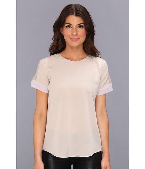 Bluze Rebecca Taylor - S/S Tee w/ Silk Insets - Buff Combo