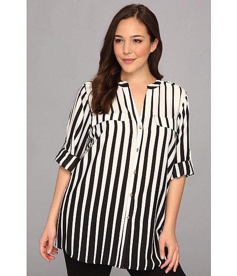 Bluze Calvin Klein - Plus Size L/S Printed Crew Neck Roll Sleeve Blouse - Black/Winter White