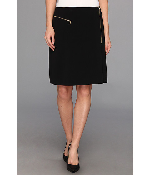 Fuste Nine West - Bi Stretch Zipper Detailed A-Line Skirt - Black